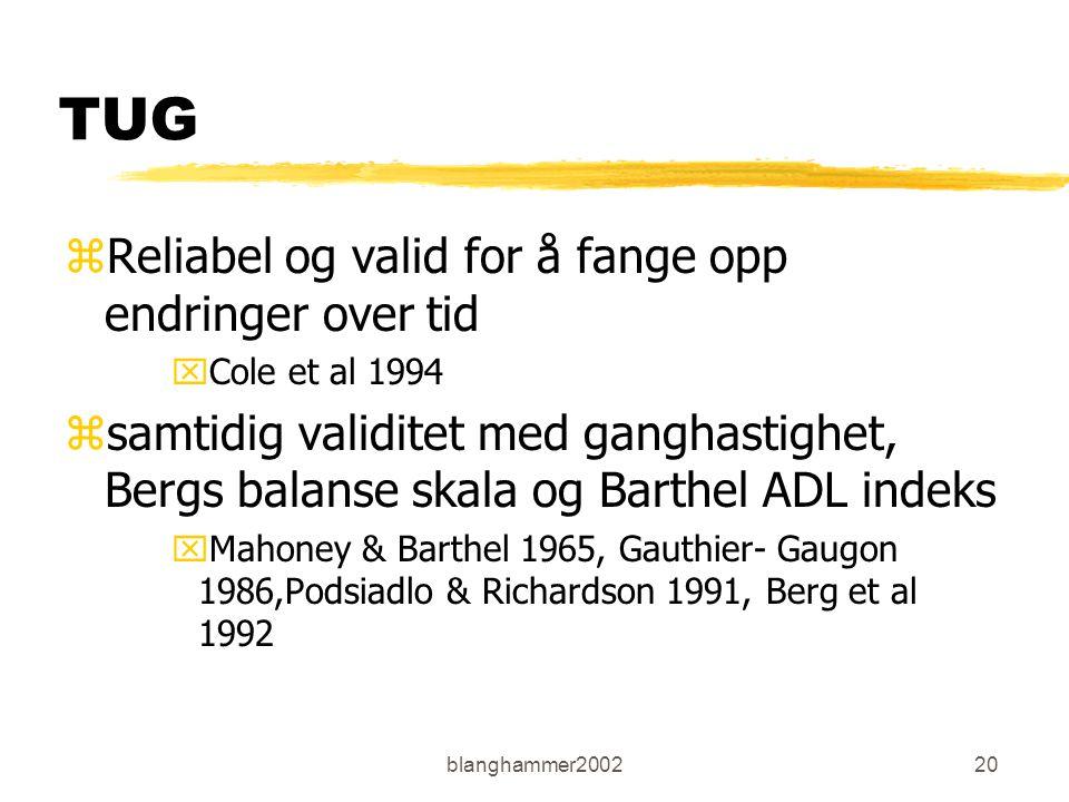 blanghammer200220 TUG zReliabel og valid for å fange opp endringer over tid xCole et al 1994 zsamtidig validitet med ganghastighet, Bergs balanse skal