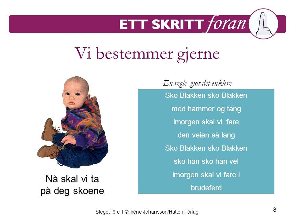 Steget före 1 © Irène Johansson/Hatten Förlag 8 Vi bestemmer gjerne Sko Blakken sko Blakken med hammer og tang imorgen skal vi fare den veien så lang