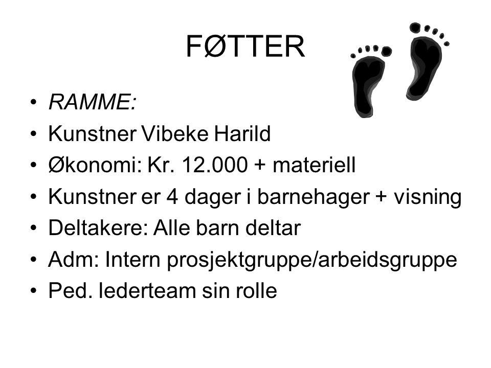 FØTTER •Aktiviteter med kunstner: •28 barn ( 4-5år) lager hver sin sko – hønsenetting og bandasjegibs.