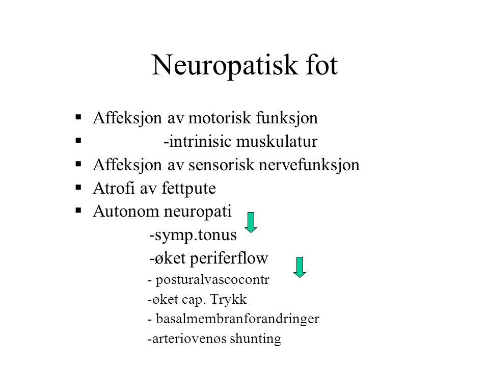 Neuropatisk fot  Affeksjon av motorisk funksjon  -intrinisic muskulatur  Affeksjon av sensorisk nervefunksjon  Atrofi av fettpute  Autonom neurop