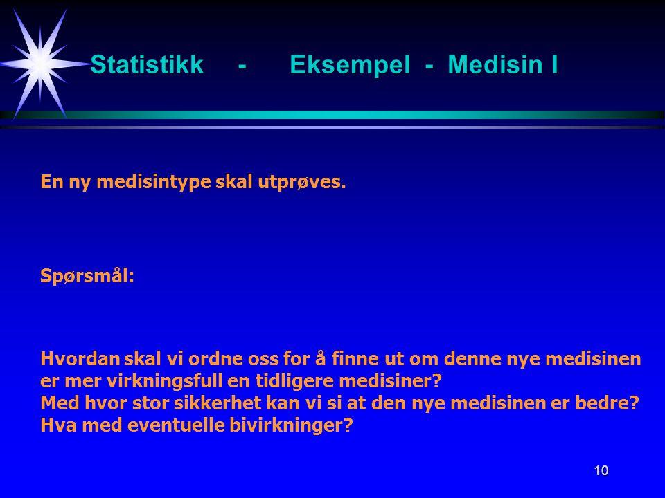 10 Statistikk -Eksempel - Medisin I En ny medisintype skal utprøves. Spørsmål: Hvordan skal vi ordne oss for å finne ut om denne nye medisinen er mer