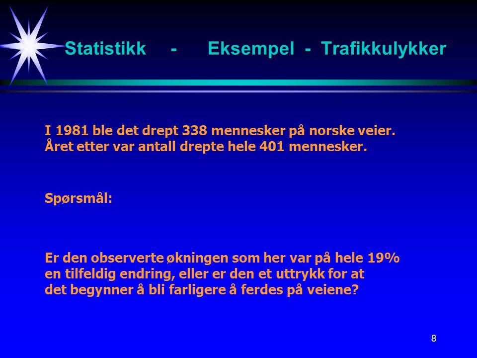 8 Statistikk -Eksempel - Trafikkulykker I 1981 ble det drept 338 mennesker på norske veier. Året etter var antall drepte hele 401 mennesker. Spørsmål: