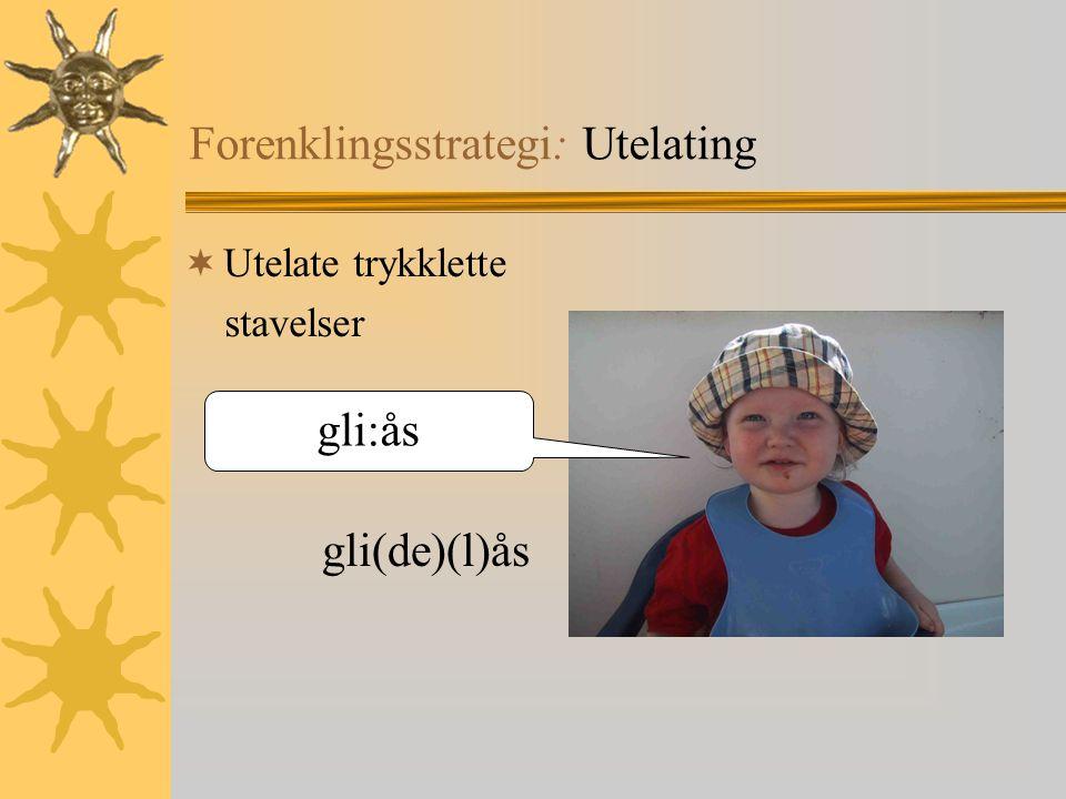 Forenklingsstrategi: Utelating  Utelate trykklette stavelser gli(de)(l)ås gli:ås