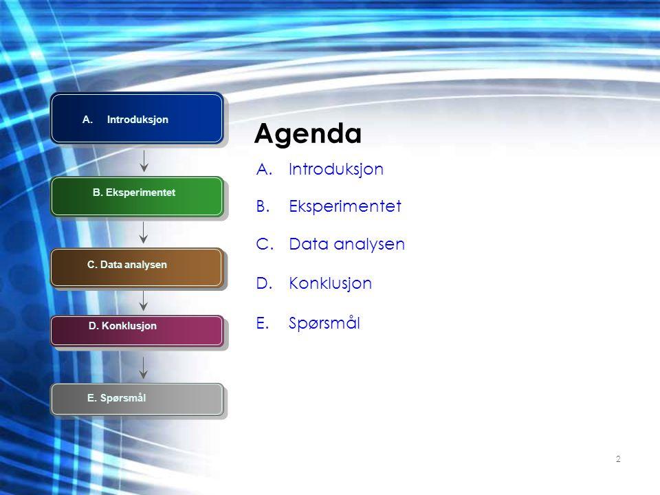 2 Agenda A.Introduksjon B.Eksperimentet C.Data analysen D.Konklusjon E.Spørsmål A.Introduksjon E. Spørsmål C. Data analysen B. Eksperimentet D. Konklu
