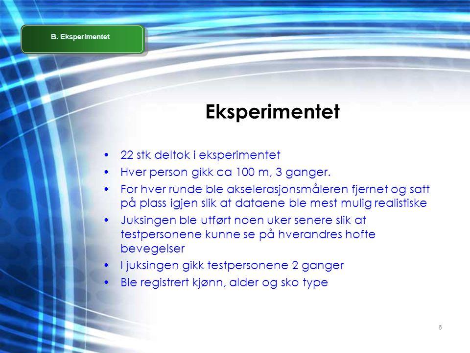 8 Eksperimentet •22 stk deltok i eksperimentet •Hver person gikk ca 100 m, 3 ganger. •For hver runde ble akselerasjonsmåleren fjernet og satt på plass
