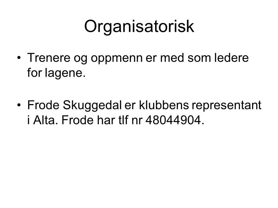 Organisatorisk •Trenere og oppmenn er med som ledere for lagene. •Frode Skuggedal er klubbens representant i Alta. Frode har tlf nr 48044904.