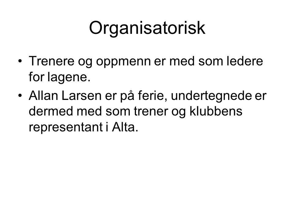 Organisatorisk •Trenere og oppmenn er med som ledere for lagene.