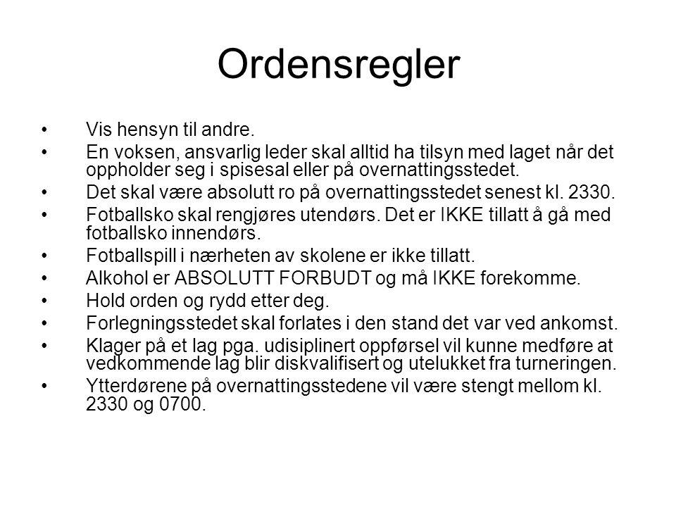 Ordensregler •Vis hensyn til andre.
