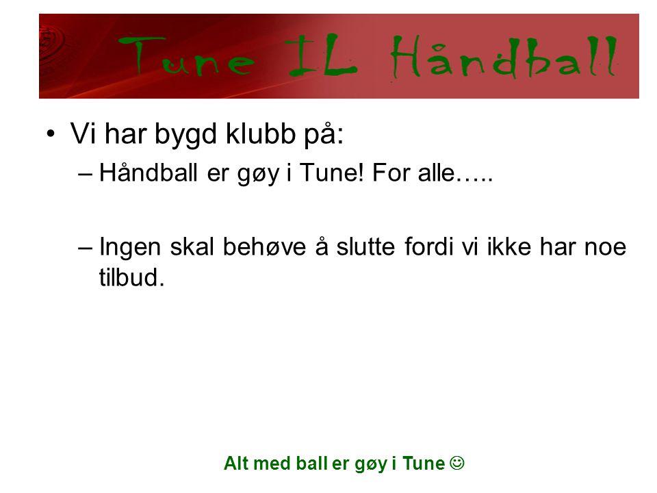 Alt med ball er gøy i Tune  •Vi har bygd klubb på: –Håndball er gøy i Tune! For alle….. –Ingen skal behøve å slutte fordi vi ikke har noe tilbud.