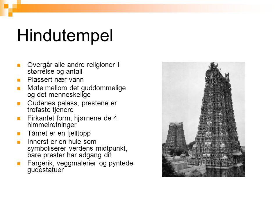 Hindutempel  Overgår alle andre religioner i størrelse og antall  Plassert nær vann  Møte mellom det guddommelige og det menneskelige  Gudenes pal