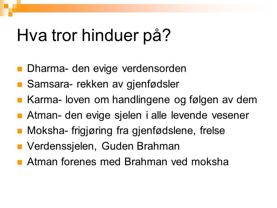 Hva tror hinduer på?  Dharma- den evige verdensorden  Samsara- rekken av gjenfødsler  Karma- loven om handlingene og følgen av dem  Atman- den evi