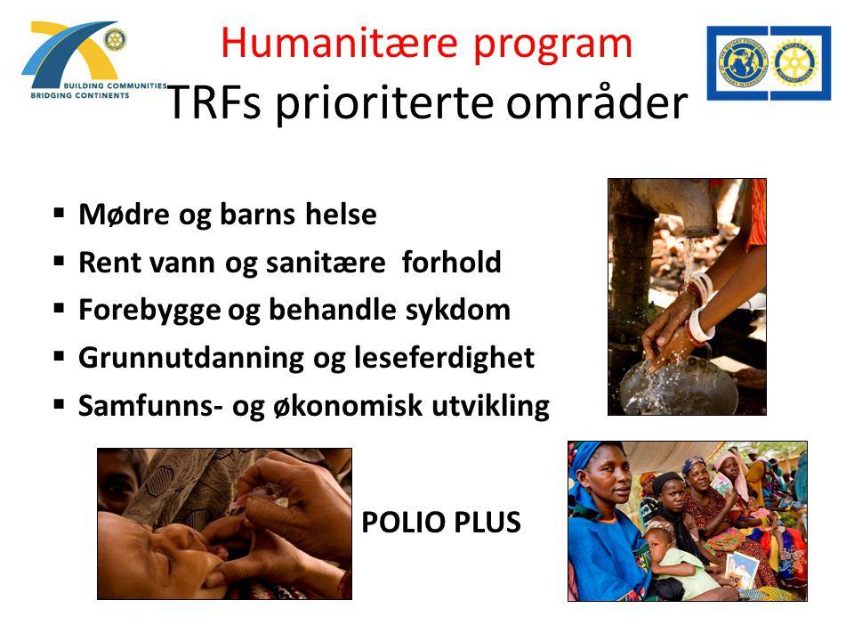 Humanitære program TRFs prioriterte områder  Mødre og barns helse  Rent vann og sanitære forhold  Forebygge og behandle sykdom  Grunnutdanning og leseferdighet  Samfunns- og økonomisk utvikling  POLIO PLUS