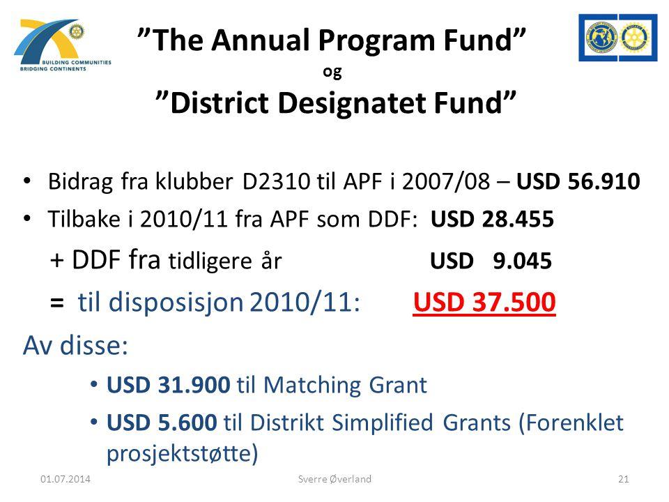The Annual Program Fund og District Designatet Fund • Bidrag fra klubber D2310 til APF i 2007/08 – USD 56.910 • Tilbake i 2010/11 fra APF som DDF: USD 28.455 + DDF fra tidligere år USD 9.045 = til disposisjon 2010/11: USD 37.500 Av disse: • USD 31.900 til Matching Grant • USD 5.600 til Distrikt Simplified Grants (Forenklet prosjektstøtte) 01.07.201421Sverre Øverland