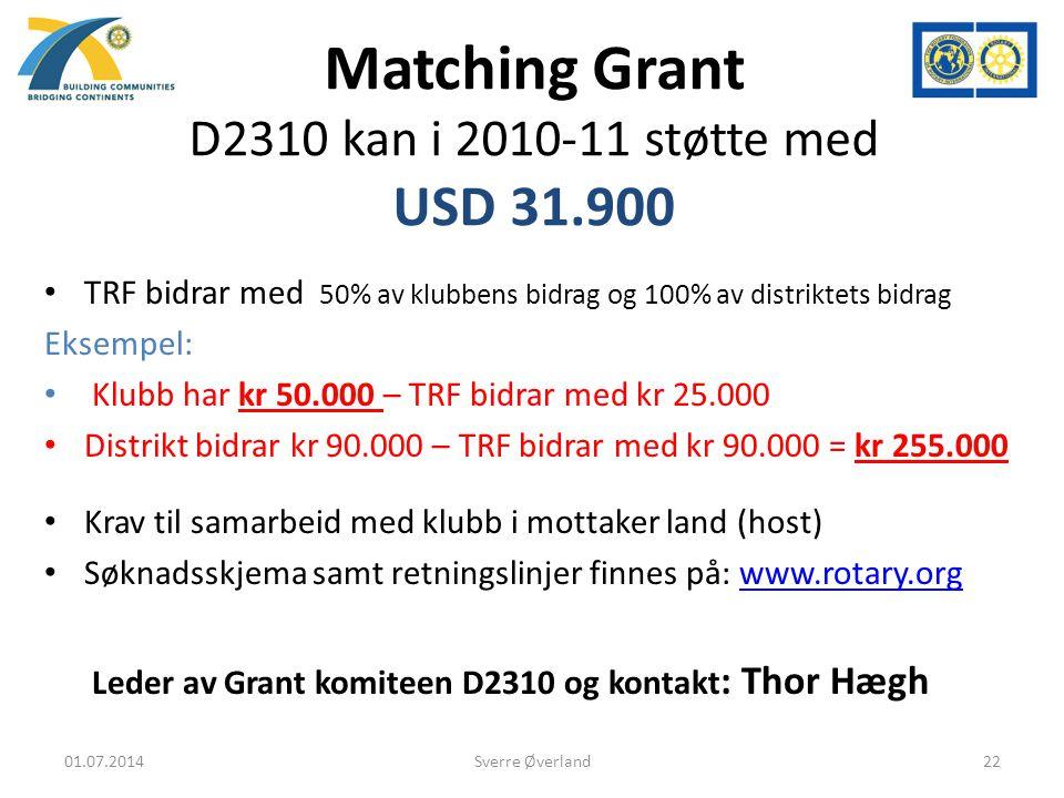 Matching Grant D2310 kan i 2010-11 støtte med USD 31.900 • TRF bidrar med 50% av klubbens bidrag og 100% av distriktets bidrag Eksempel: • Klubb har kr 50.000 – TRF bidrar med kr 25.000 • Distrikt bidrar kr 90.000 – TRF bidrar med kr 90.000 = kr 255.000 • Krav til samarbeid med klubb i mottaker land (host) • Søknadsskjema samt retningslinjer finnes på: www.rotary.orgwww.rotary.org Leder av Grant komiteen D2310 og kontakt : Thor Hægh 01.07.201422Sverre Øverland