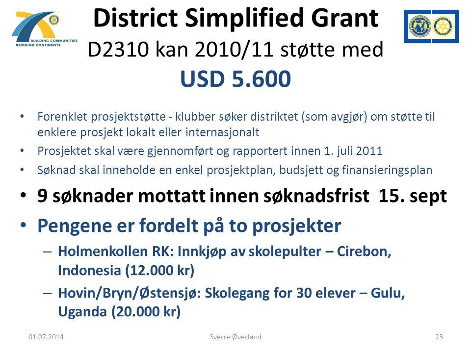 District Simplified Grant D2310 kan 2010/11 støtte med USD 5.600 • Forenklet prosjektstøtte - klubber søker distriktet (som avgjør) om støtte til enklere prosjekt lokalt eller internasjonalt • Prosjektet skal være gjennomført og rapportert innen 1.