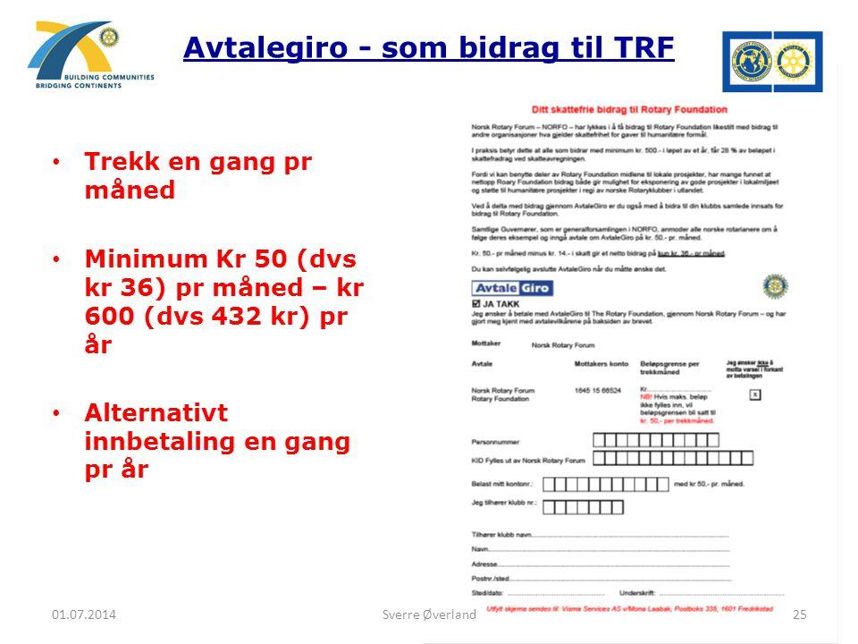 Avtalegiro - som bidrag til TRF • Trekk en gang pr måned • Minimum Kr 50 (dvs kr 36) pr måned – kr 600 (dvs 432 kr) pr år • Alternativt innbetaling en gang pr år 01.07.201425Sverre Øverland