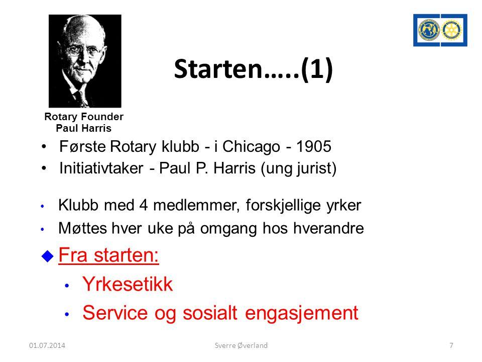 Starten…..(1) •Første Rotary klubb - i Chicago - 1905 •Initiativtaker - Paul P.