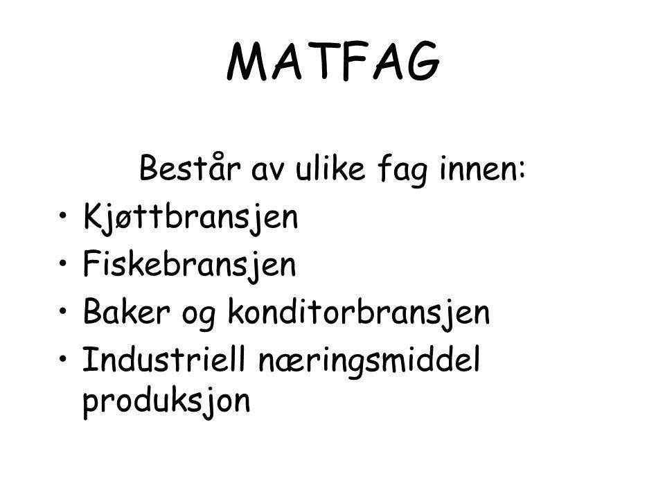 MATFAG Består av ulike fag innen: •Kjøttbransjen •Fiskebransjen •Baker og konditorbransjen •Industriell næringsmiddel produksjon