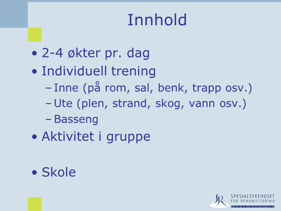 Innhold •2-4 økter pr. dag •Individuell trening –Inne (på rom, sal, benk, trapp osv.) –Ute (plen, strand, skog, vann osv.) –Basseng •Aktivitet i grupp