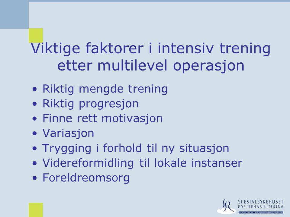 Viktige faktorer i intensiv trening etter multilevel operasjon •Riktig mengde trening •Riktig progresjon •Finne rett motivasjon •Variasjon •Trygging i
