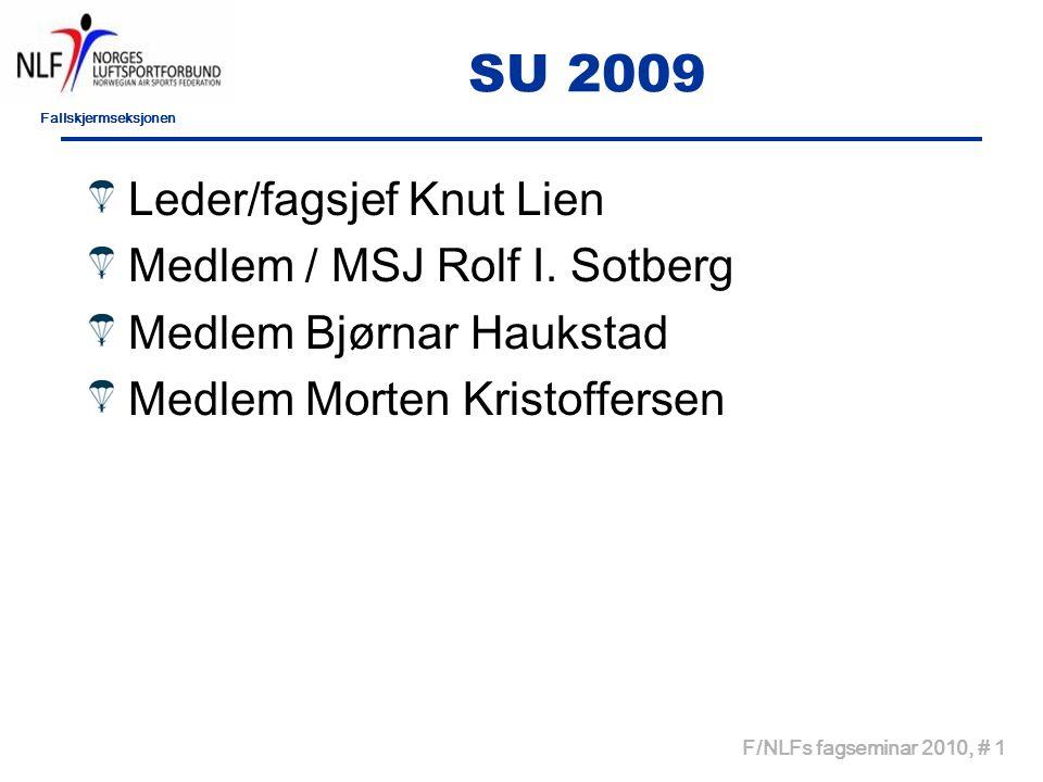 Fallskjermseksjonen F/NLFs fagseminar 2010, # 1 SU 2009 Leder/fagsjef Knut Lien Medlem / MSJ Rolf I.