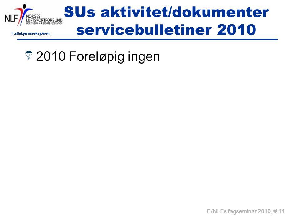 Fallskjermseksjonen F/NLFs fagseminar 2010, # 11 SUs aktivitet/dokumenter servicebulletiner 2010 2010 Foreløpig ingen