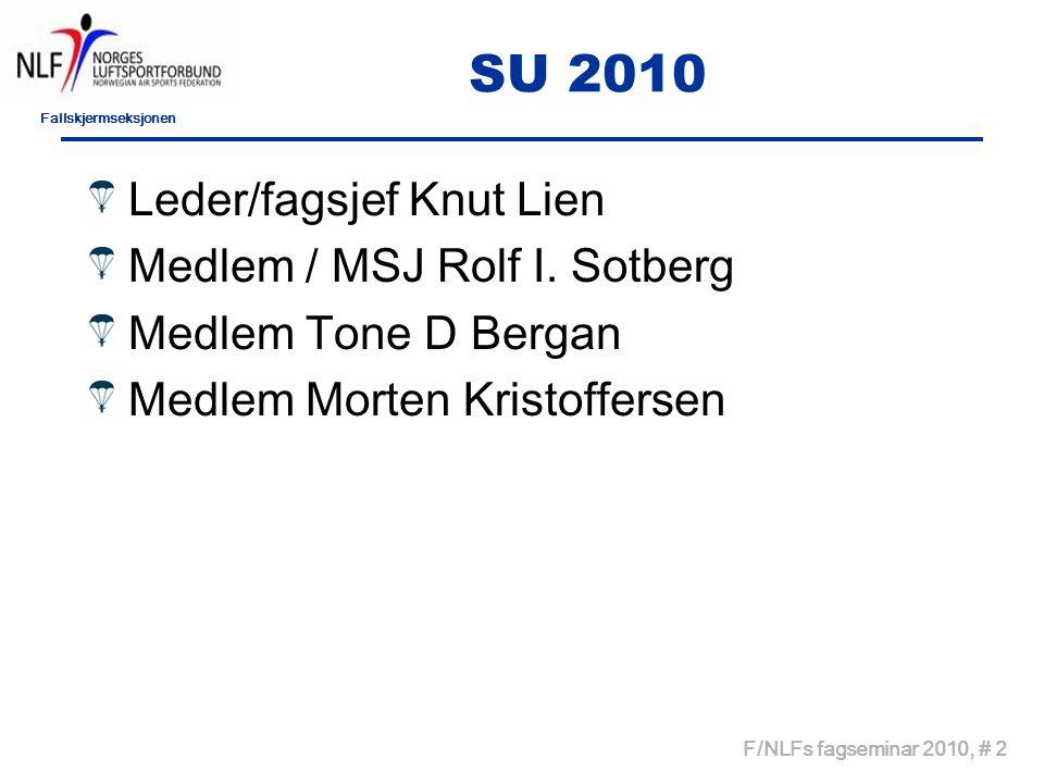 Fallskjermseksjonen F/NLFs fagseminar 2010, # 2 SU 2010 Leder/fagsjef Knut Lien Medlem / MSJ Rolf I.