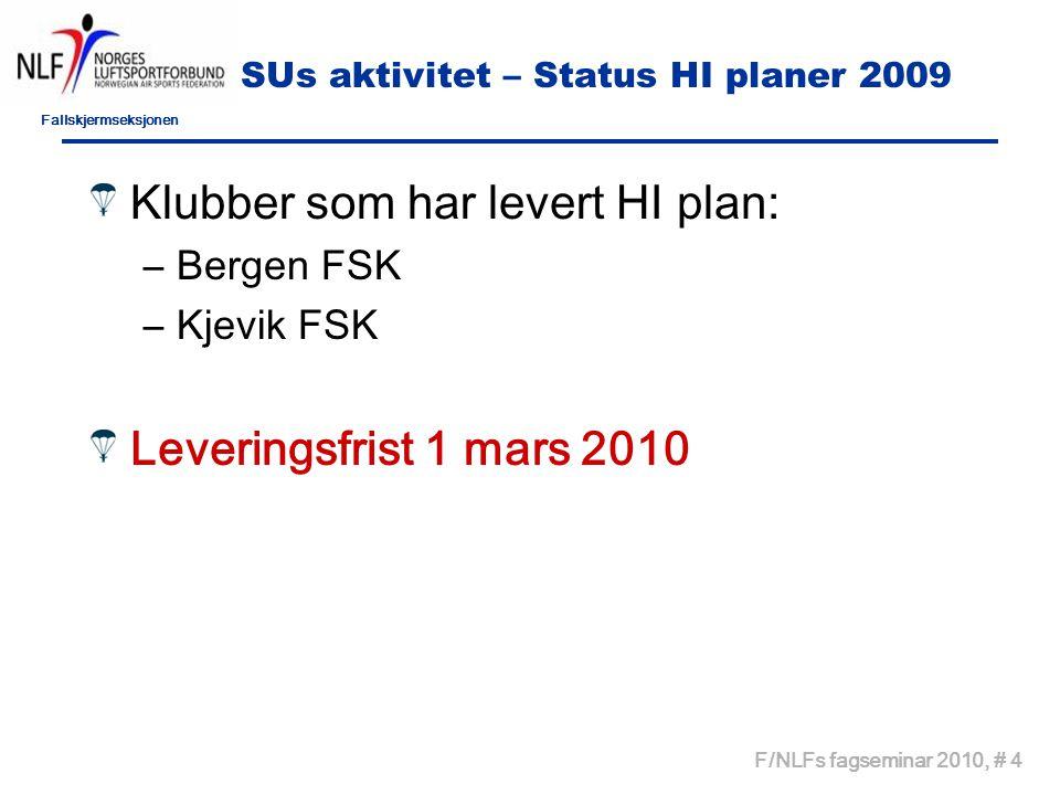 Fallskjermseksjonen F/NLFs fagseminar 2010, # 4 SUs aktivitet – Status HI planer 2009 Klubber som har levert HI plan: –Bergen FSK –Kjevik FSK Leveringsfrist 1 mars 2010