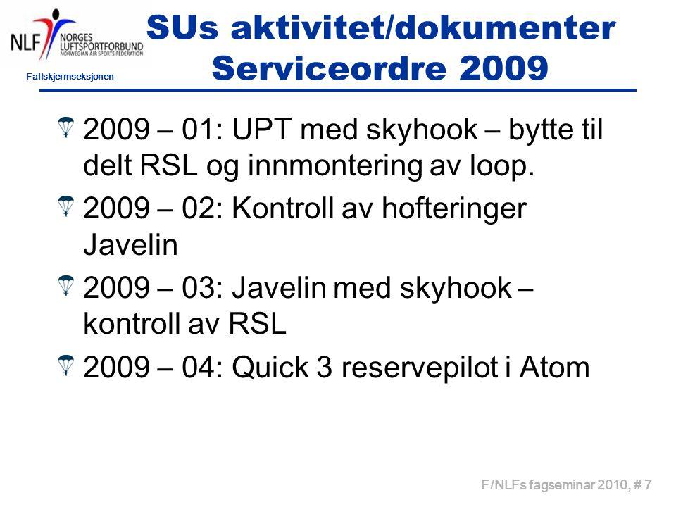 Fallskjermseksjonen F/NLFs fagseminar 2010, # 7 SUs aktivitet/dokumenter Serviceordre 2009 2009 – 01: UPT med skyhook – bytte til delt RSL og innmontering av loop.