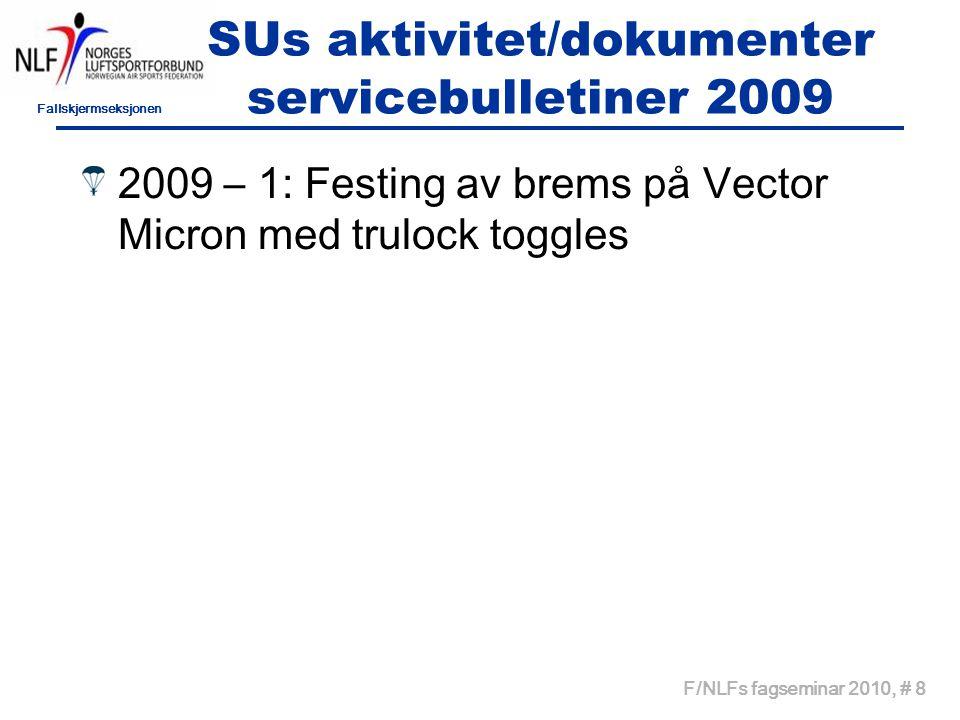 Fallskjermseksjonen F/NLFs fagseminar 2010, # 8 SUs aktivitet/dokumenter servicebulletiner 2009 2009 – 1: Festing av brems på Vector Micron med trulock toggles