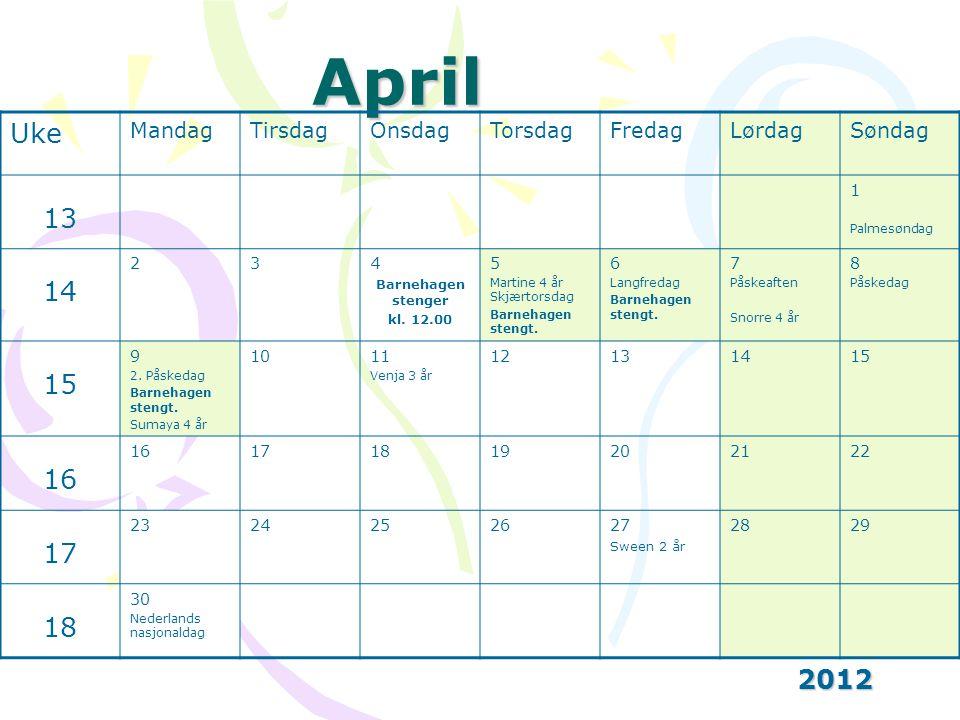 April 2012 Uke MandagTirsdagOnsdagTorsdagFredagLørdagSøndag 13 1 Palmesøndag 14 234 Barnehagen stenger kl.