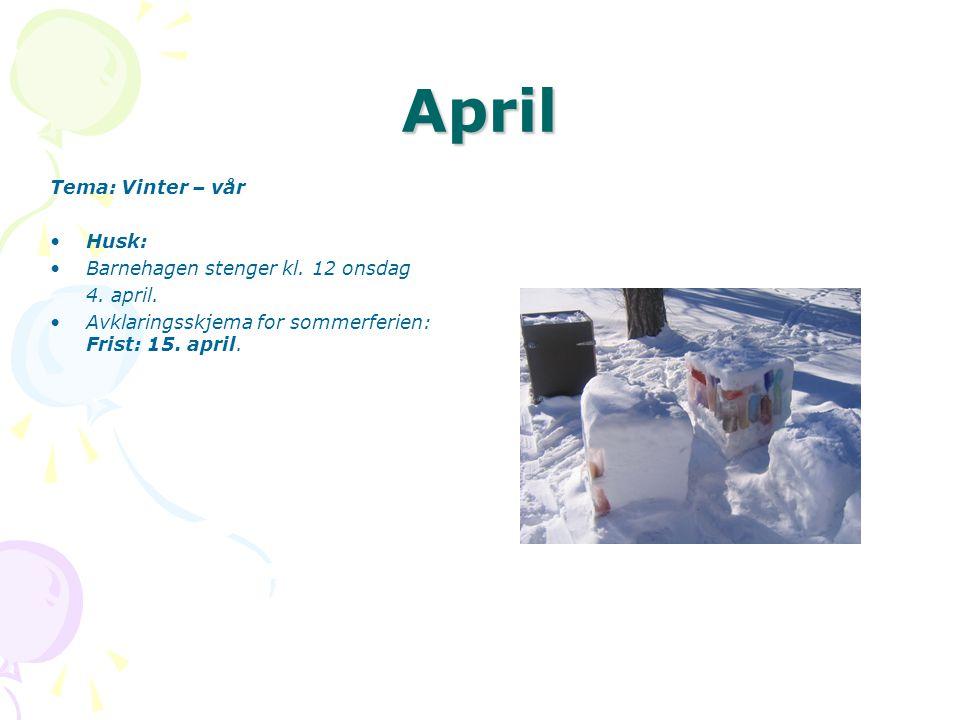 April Tema: Vinter – vår •Husk: •Barnehagen stenger kl.