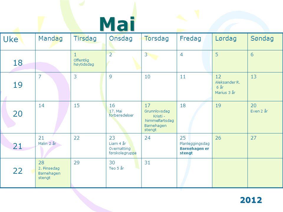 Mai 2012 Uke MandagTirsdagOnsdagTorsdagFredagLørdagSøndag 18 1 Offentlig høytidsdag 23456 19 739101112 Aleksander R.