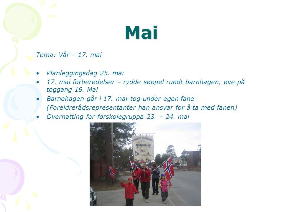 Mai Tema: Vår – 17.mai •Planleggingsdag 25. mai •17.