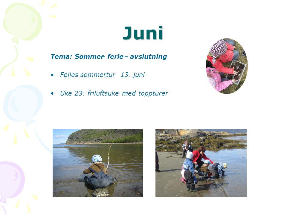 Juni Tema: Sommer–ferie–avslutning •Felles sommertur 13. juni •Uke 23: friluftsuke med toppturer