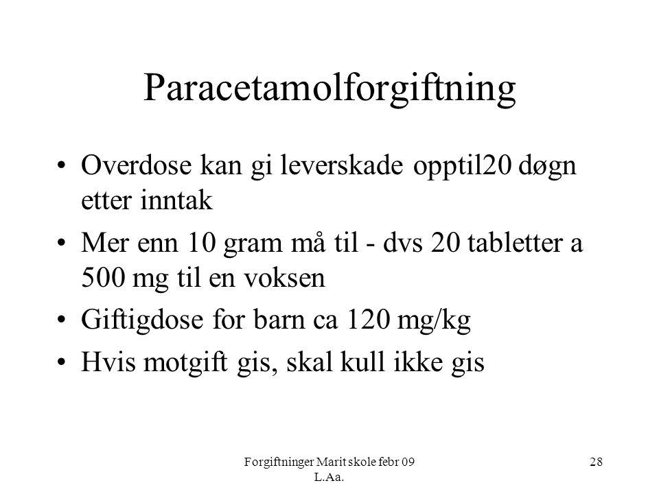 Forgiftninger Marit skole febr 09 L.Aa. 28 Paracetamolforgiftning •Overdose kan gi leverskade opptil20 døgn etter inntak •Mer enn 10 gram må til - dvs