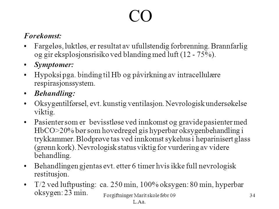 Forgiftninger Marit skole febr 09 L.Aa. 34 CO Forekomst: •Fargeløs, luktløs, er resultat av ufullstendig forbrenning. Brannfarlig og gir eksplosjonsri