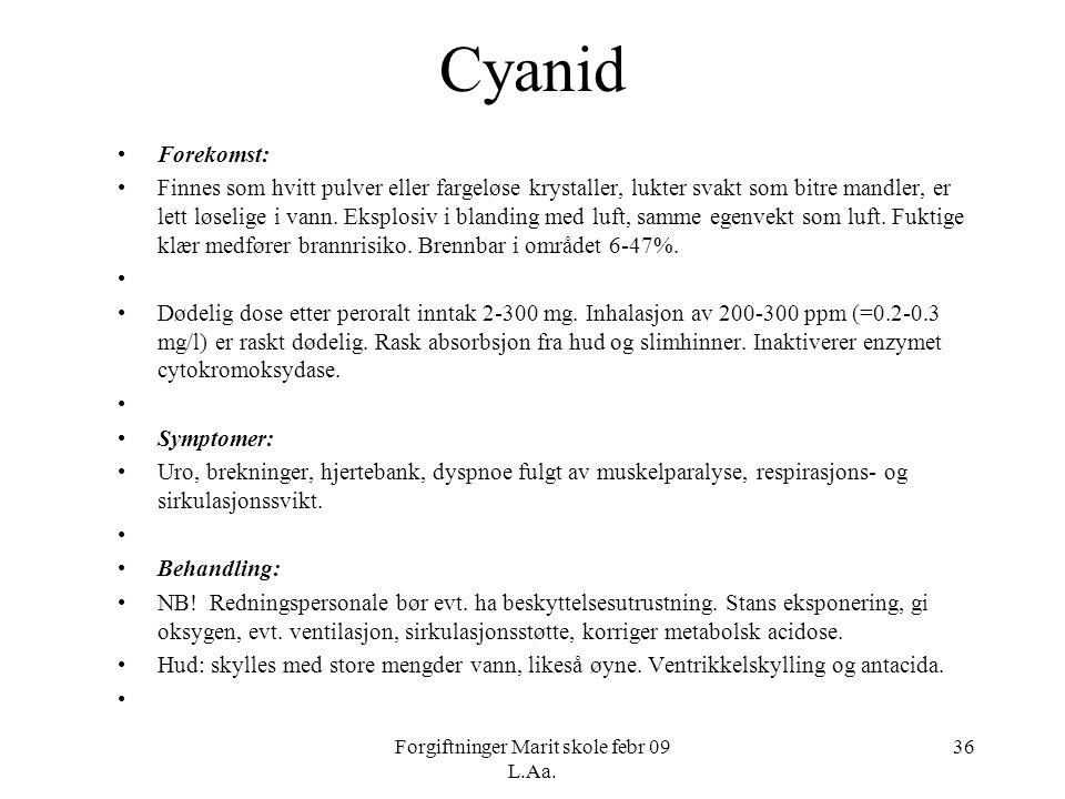 Forgiftninger Marit skole febr 09 L.Aa. 36 Cyanid •Forekomst: •Finnes som hvitt pulver eller fargeløse krystaller, lukter svakt som bitre mandler, er