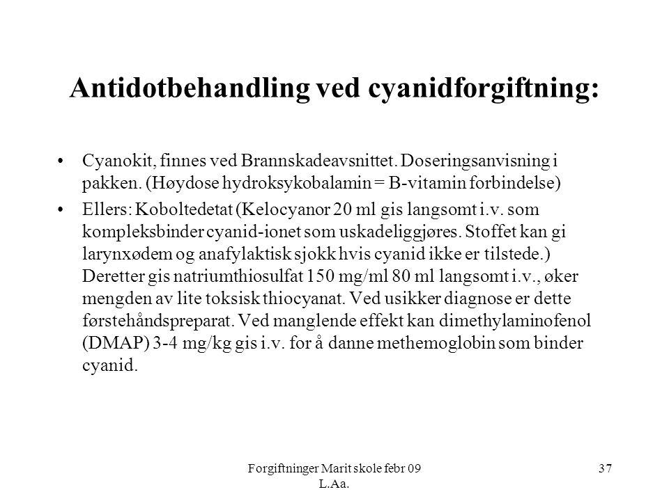 Forgiftninger Marit skole febr 09 L.Aa. 37 Antidotbehandling ved cyanidforgiftning: •Cyanokit, finnes ved Brannskadeavsnittet. Doseringsanvisning i pa