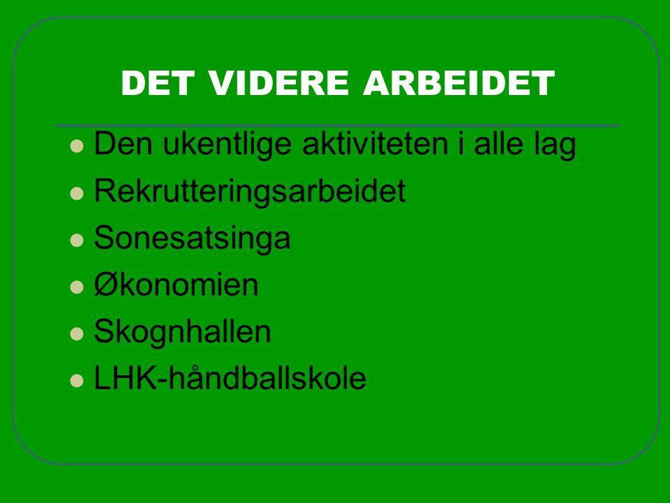 DET VIDERE ARBEIDET  Den ukentlige aktiviteten i alle lag  Rekrutteringsarbeidet  Sonesatsinga  Økonomien  Skognhallen  LHK-håndballskole