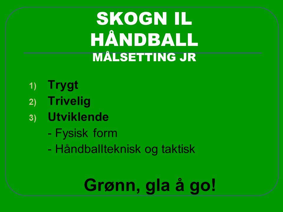 SKOGN IL HÅNDBALL MÅLSETTING JR 1) Trygt 2) Trivelig 3) Utviklende - Fysisk form - Håndballteknisk og taktisk Grønn, gla å go!