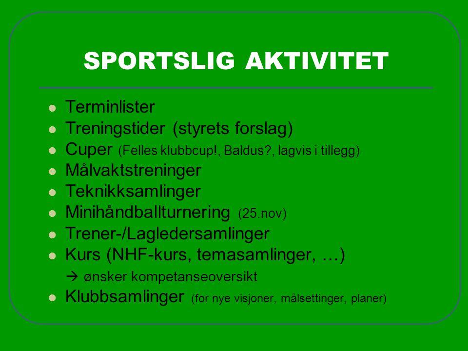 SPORTSLIG AKTIVITET  Terminlister  Treningstider (styrets forslag)  Cuper (Felles klubbcup!, Baldus?, lagvis i tillegg)  Målvaktstreninger  Tekni