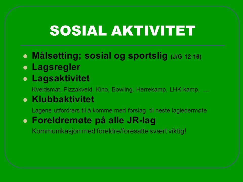 SOSIAL AKTIVITET  Målsetting; sosial og sportslig (J/G 12-16)  Lagsregler  Lagsaktivitet Kveldsmat, Pizzakveld, Kino, Bowling, Herrekamp, LHK-kamp,