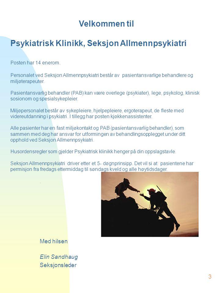 3 Velkommen til Psykiatrisk Klinikk, Seksjon Allmennpsykiatri Posten har 14 enerom. Personalet ved Seksjon Allmennpsykiatri består av pasientansvarlig