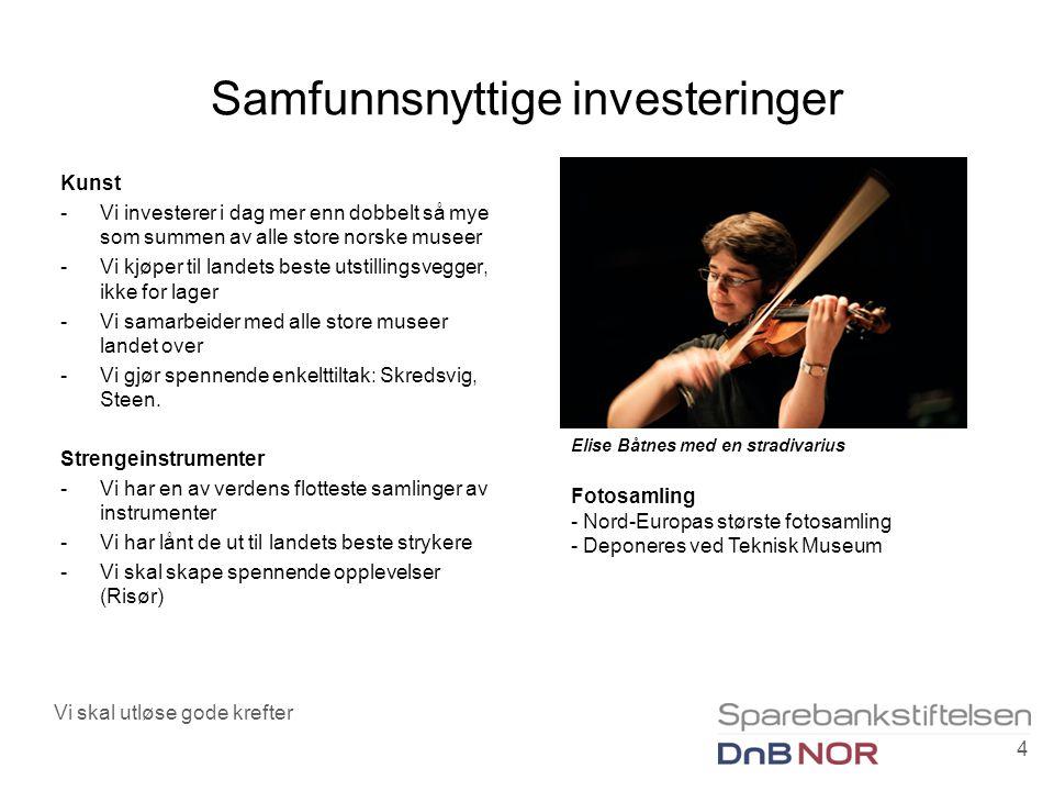 Samfunnsnyttige investeringer Kunst -Vi investerer i dag mer enn dobbelt så mye som summen av alle store norske museer -Vi kjøper til landets beste utstillingsvegger, ikke for lager -Vi samarbeider med alle store museer landet over -Vi gjør spennende enkelttiltak: Skredsvig, Steen.