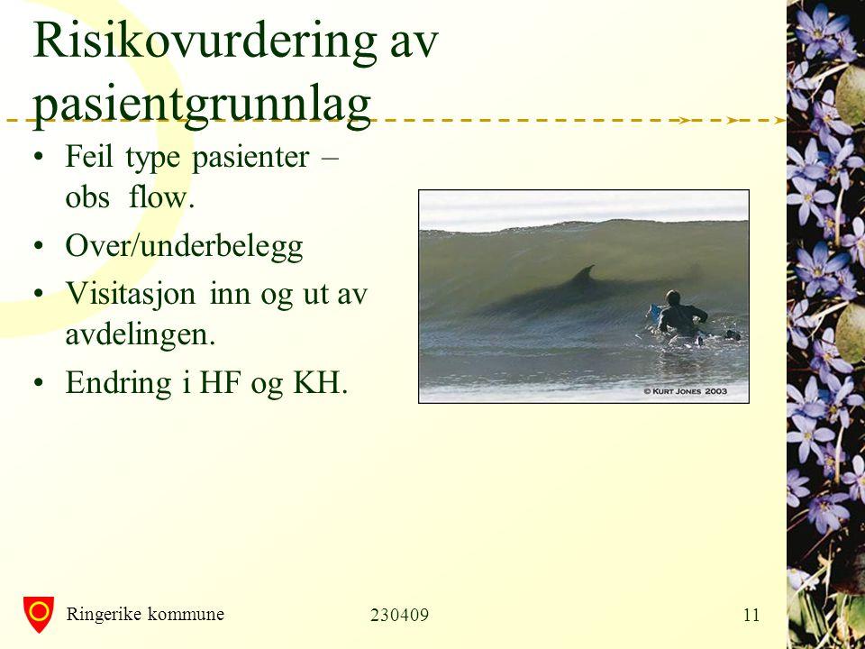 Ringerike kommune 23040911 Risikovurdering av pasientgrunnlag •Feil type pasienter – obs flow.