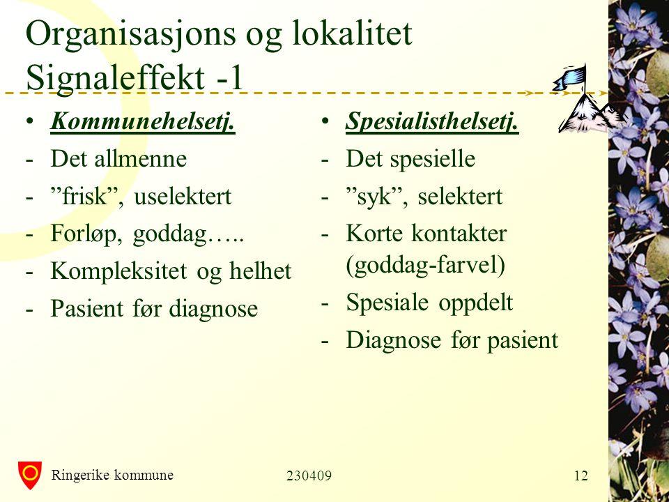 Ringerike kommune 23040912 Organisasjons og lokalitet Signaleffekt -1 •Kommunehelsetj.