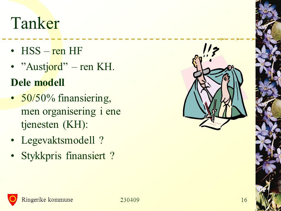 Ringerike kommune 23040916 Tanker •HSS – ren HF • Austjord – ren KH.