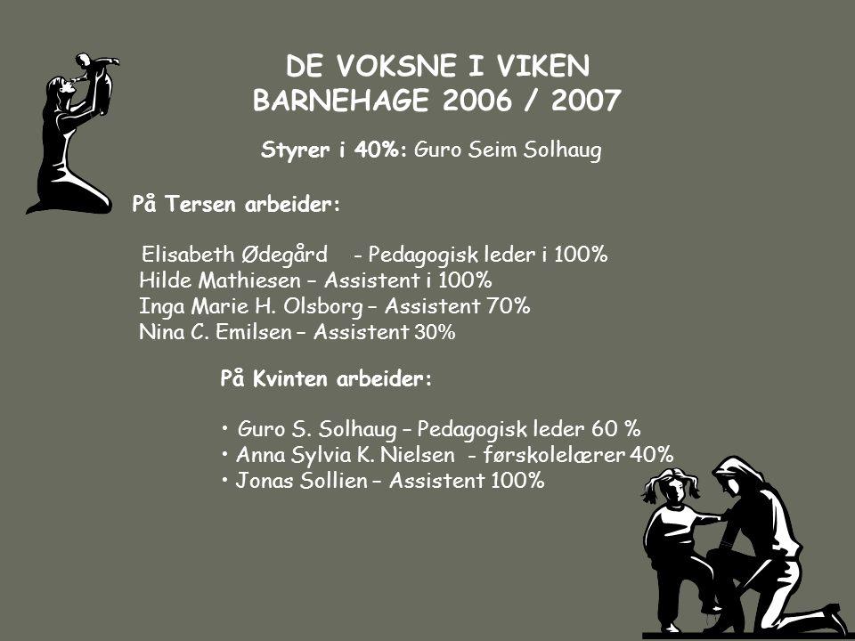 DE VOKSNE I VIKEN BARNEHAGE 2006 / 2007 Styrer i 40%: Guro Seim Solhaug På Kvinten arbeider: • Guro S. Solhaug – Pedagogisk leder 60 % • Anna Sylvia K