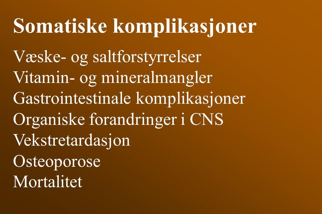 Somatiske komplikasjoner Væske- og saltforstyrrelser Vitamin- og mineralmangler Gastrointestinale komplikasjoner Organiske forandringer i CNS Vekstret